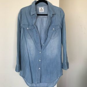 Volcom denim chambray button shirt XS